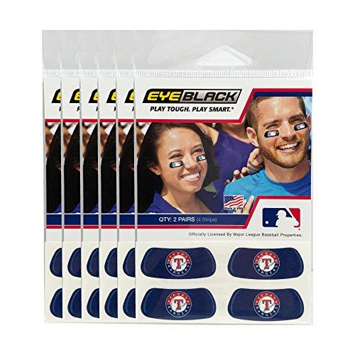(24 Strips) Texas Rangers MLB Eye Black Anti Glare Strips, Great for Fans & Athletes on Game - Eye Ranger