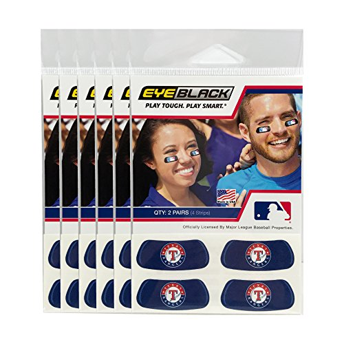 (24 Strips) Texas Rangers MLB Eye Black Anti Glare Strips, Great for Fans & Athletes on Game Day