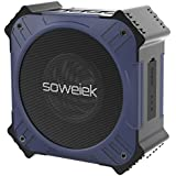 Solar-Powered Bluetooth Speaker, Soweiek Portable IPX6 Waterproof Wireless Speaker with 20 Hours Playtime HD Stereo Sound Deep Bass Mic AUX Durable Design - Navy Blue