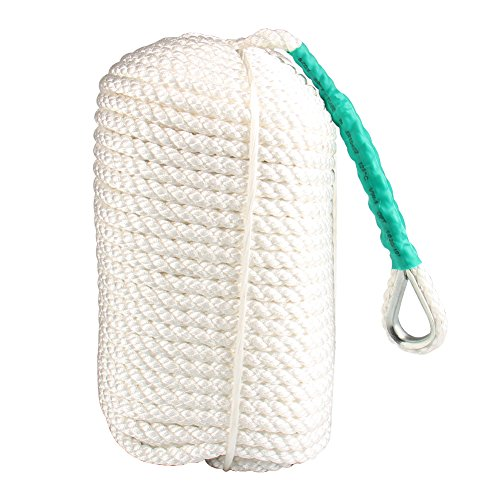 Bang4buck 1/2 inch Anchor Rope 300 Feet Nylon Three Strand Braided Boat Dockline Mooring Lines with Thimble - Very Tough and Durable- 5,850 LB Breaking Strain- Super Strong (Lines Anchor Strand Three)