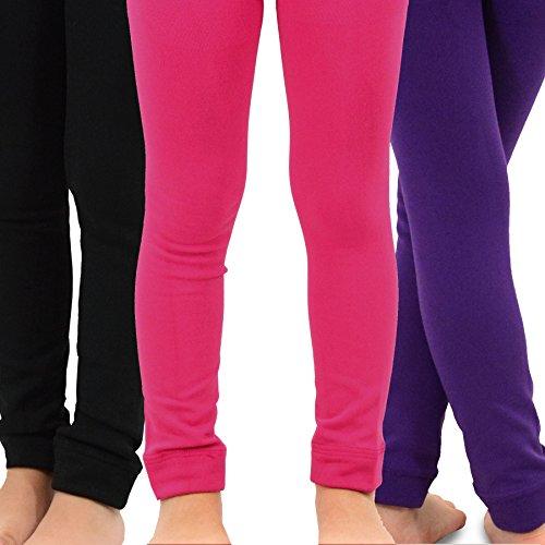 Naartjie Kids Girls Fleece Inner Brushed Leggings 3 Pack, Plain (Kids Pants)