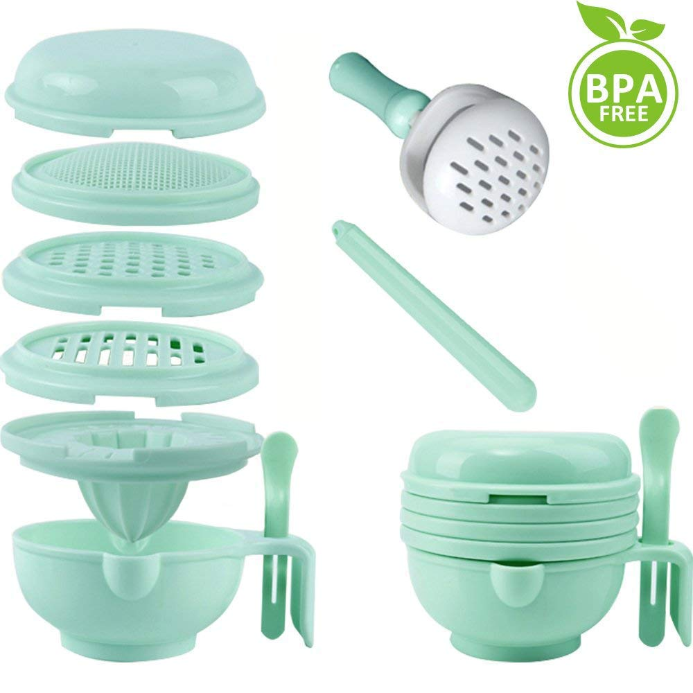 WINGOFFLY 9 in 1 Food Masher Maker Portable Baby Feeder Food Processor Smasher Serve Bowl Vegetables Fruit Ricer Grinder by WINGOFFLY