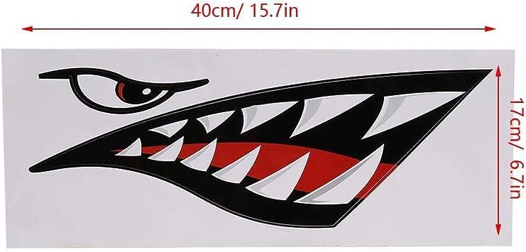 Haifischzähne Mund Aufkleber Fischerboot Kanu Auto Kajak Zubehör Flying Tigers Decals Shark Teeth Aufkleber Autoaufkleber Für Kajak Kanu Beiboot Boot Auto Lkw Zubehör Sport Freizeit