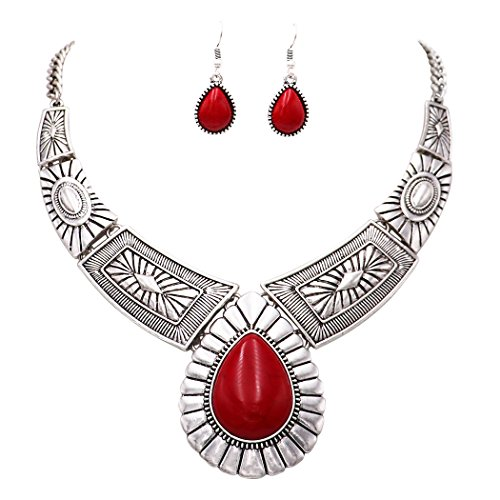 - Rosemarie Collections Women's Southwest Teardrop Stone Statement Necklace Earrings Set (Red Color)