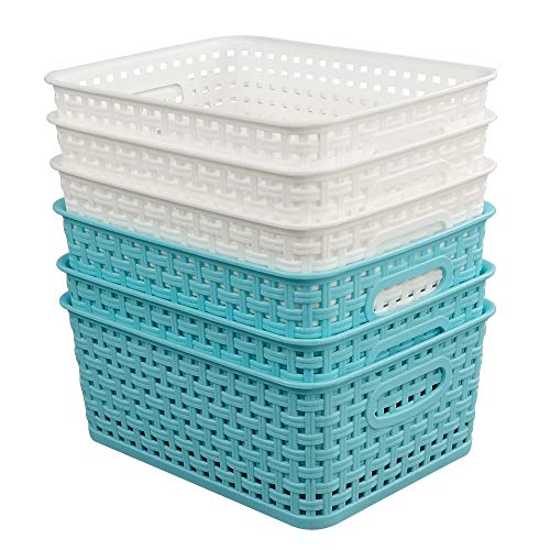 Vababa Plastic Storage Baskets/Storage Bins, Pack for 6 (Plastic Baskets Woven Storage)