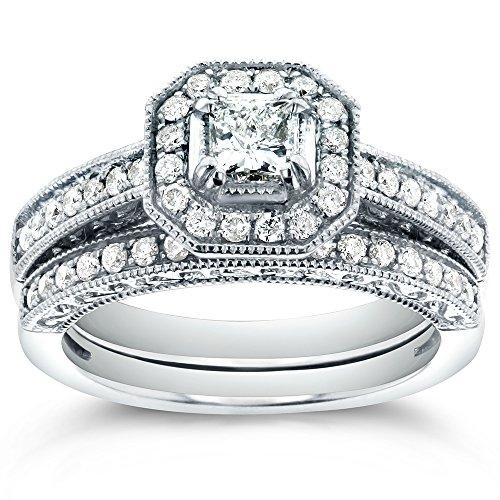 Antique Princess-cut Halo Diamond Bridal Ring Set 3/4 Carat (ctw) in 14k White Gold, Size 10.5 ()