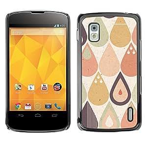 TopCaseStore / la caja del caucho duro de la cubierta de protección de la piel - Drop Raindrop Tear Pattern Pastel Shape - LG Google Nexus 4 E960