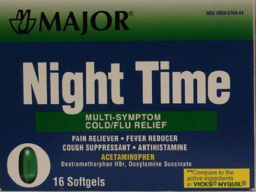 Cold And Flu Multi Symptom Relief Rapid Release Gelcaps Night Time Generic For Nyquil 16 Per Box Pack Of 3 Total 48 Gelcaps