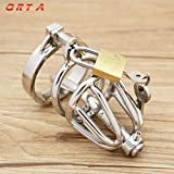 ccTina New Male chastity device stainless steel metal penis lock chastity penis ring chastity belt men adult product sex toys cock 1pcs