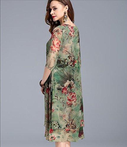 Robe de Nouveaux Femmes MiGMV 2018 mre Fleur Robes de Rose Hangzhou casse de rier XL vtements m Longue Soie d'age Porter Soie l't Moyen Jupe pour de qE05xA0