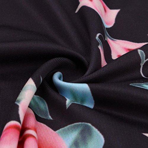 Leg Pierna de Pantalón Prints Las Ancha Pants Vaqueros Ba Zha cordón de Pantalones Negro Hei con Leggings Deportivas Leggings Floral Medias Floral Drawstring y Mujeres Women Wide Estampados Pantalones 5U1Cqwx