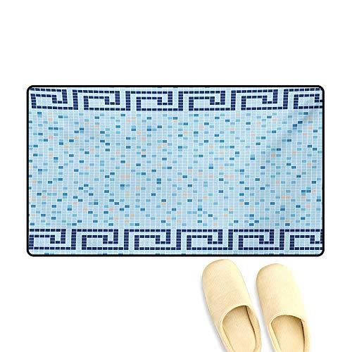 - Door Mats,Antique Greek Border Mosaic Tile Squares Abstract Swimming Pool Design,Bath Mats for Bathroom,Pale Blue Navy Blue Beige,20