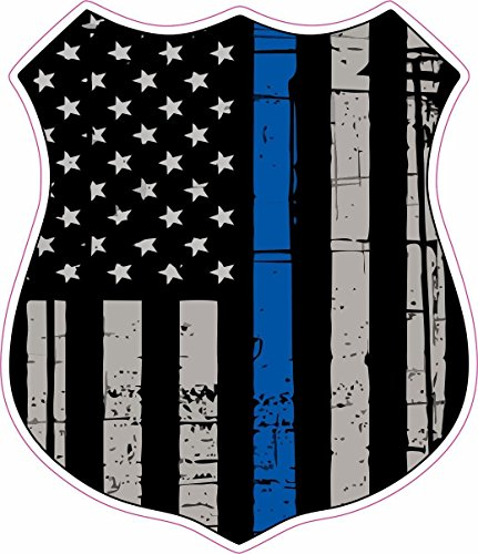 STICKER KING -Thin Blue Line Distressed American Flag Badge Shield Police WeatherproofSticker Decal 4inch]()