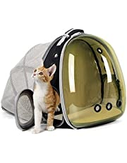 halinfer Polarized Back Expandable Cat Backpack, Bubble Backpack for Cats and Small Puppy, Pet Carrier Backpack, Pet Carrying Hiking Traveling Backpack for Cats… (Polarized Brown, Back Expandable)