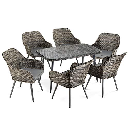Pamapic 7 PCS Outdoor Furniture Sets, All Weather Mix Grey PE Rattan Wicker Six Single Chair Washable Seat Cushions Tempered Glass Round Dining Table Kitchen, Restaurant, Patio, 7Piece