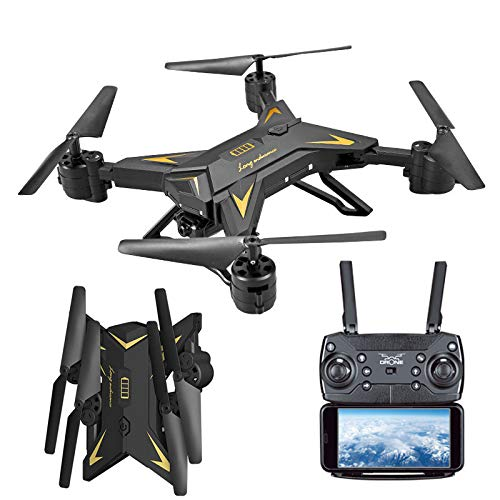 Littleice KY601S Foldable Drone Altitude Hold WiFi FPV RC Quadcopter Drone with 1080P 5.0MP Camera Selfie Drone (Black)