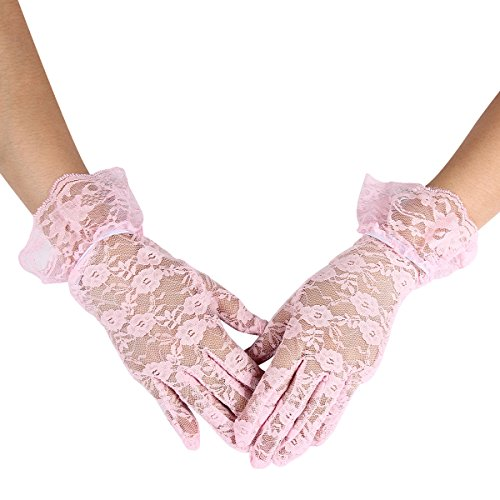 Evaliana Wedding Bridesmaid Dancewear Special Occasion Wrist Lace (Pink Lace Gloves)