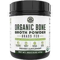 Organic Grass Fed Beef Bone Broth Protein Powder. 16oz, 20 Servings. Unflavored, Keto Friendly Protein Powder. Paleo…