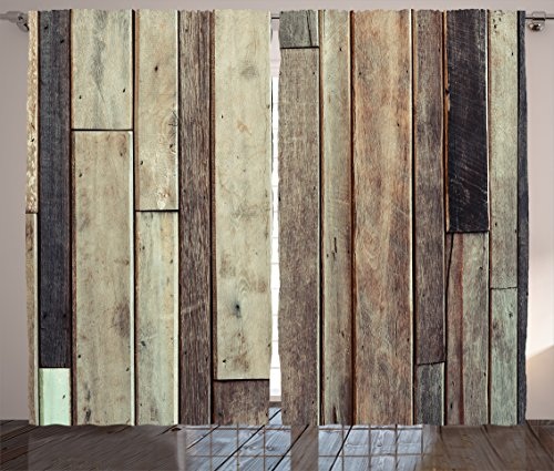 Ambesonne Wooden Curtains 2 Panel Set, Antique Old Planks Flooring Wall Picture American Style Western Rustic Panel Graphic Print, Living Room Bedroom Decor, 108 W X 90 L inches, Brown