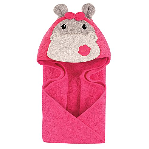Hudson Baby Unisex Baby Animal Face Hooded Towel, Hip Hippo 1-Pack, One Size