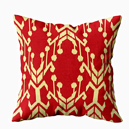(EMMTEEY Home Decor Throw Pillowcase for Sofa Cushion Cover,Halloween Ikat Pattern as Cloth Curtain Textile Decorative Square Accent Zippered and Double Sided Printing Pillow Case Covers)
