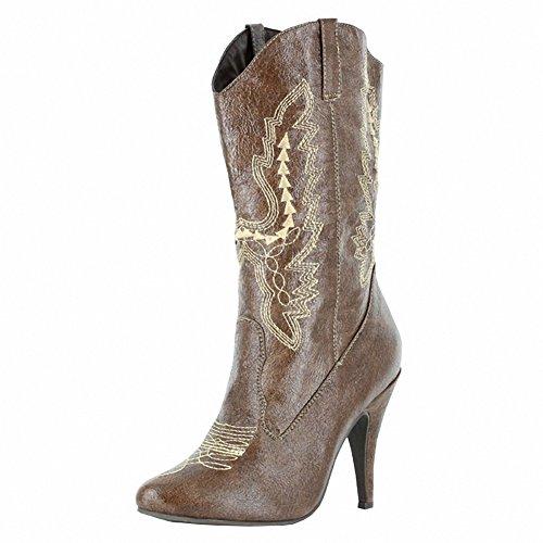 Ellie 418-cowgirl Kvinners Sexy Komfortabel 4 Hæl Ankel Cowgirl Boot Brown