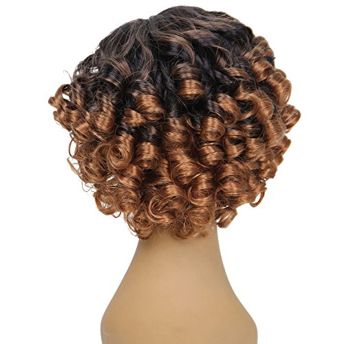 (Clearance Sale!DEESEE(TM)Women Fashion Lady Gradient Short Curls Hair Cosplay Party)