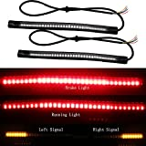 EverBrightt 2-Pack Red + Yellow 3528 + 3014 48SMD LED Motorcycle Light Strip for Taillight Brake Light Turn Signal Lamp DC 12V