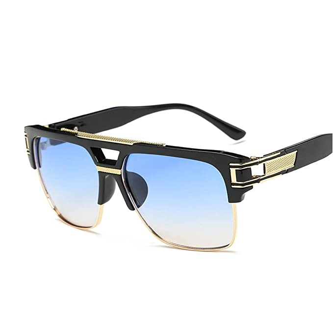 8c9df2a5eb Semi Rimless Sunglasses for Men Gold Square Frame with Gradient Lens  Classic Aviator Goggle Retro Brand