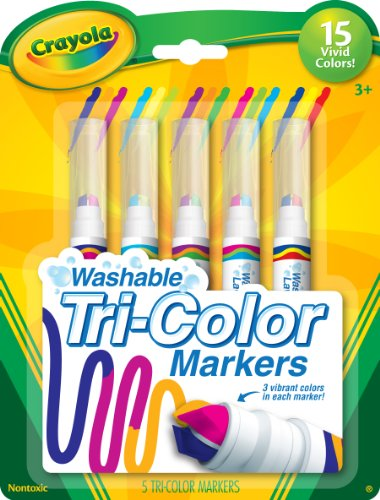 Crayola Triple Tip Markers, Washable Markers, 15 Vivid Colors, 5Count