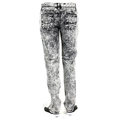 Black acid wash skinny jeans mens