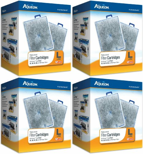 Aqueon Replacement Filter Cartridges, Large 48ct (4 x 12ct)