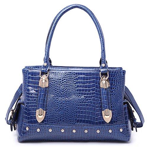 fce98dddaac21 Miss LuLu Handtasche Elegant Tasche Abendtasche Schultertasche Cross-Körper  Damentaschen (LH6642-Blau)