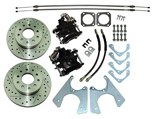 1964-77 GM 10 12 bolt Rear Axle End Disc Brake Conversion Kit Slotted ROTORS (N-3-1) (12 Bolt Rear Axle)
