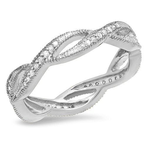 020-Carat-ctw-14K-Gold-Round-White-Diamond-Ladies-Wedding-Eternity-Band-Stackable-Ring-14-CT