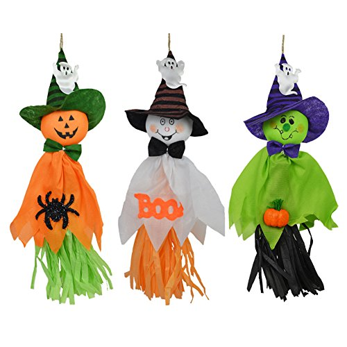 (3PCS Halloween Decoration Hanging Ghost, Pumpkin Ghost Straw Windsock Pendant for Patio Lawn Garden Party and Holiday Decorations By Rely2016)