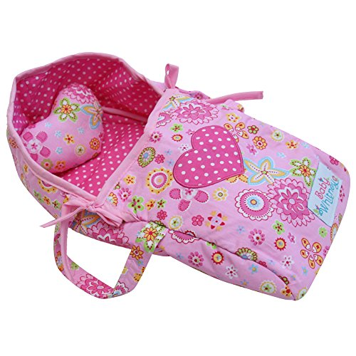 Baby Whitney Pink Heart Doll Carry Bed with Pillow, 15