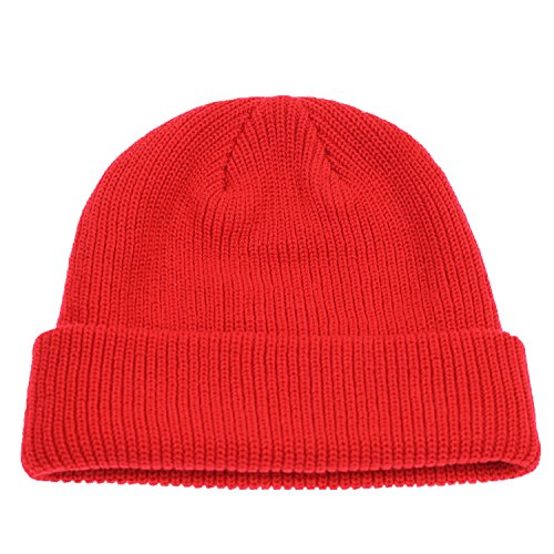 - Connectyle Outdoor Classic Bassic Men  's Warm Winter Hats Daily Thick Knit Cuff Beanie Cap Red, 55 60cm