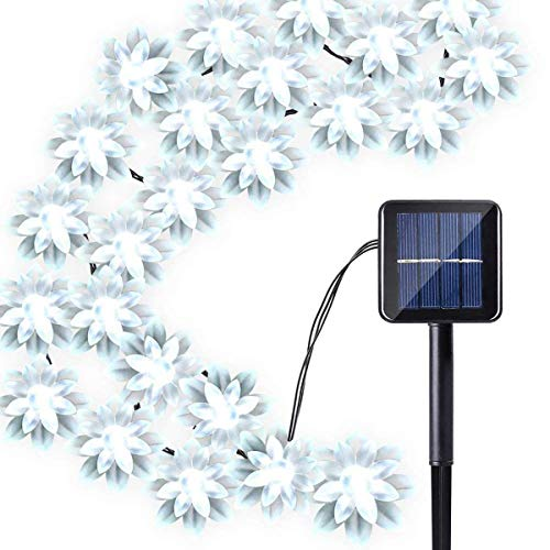 WONFAST Solar Flower Christmas Lights, Waterproof 23FT 50LED Lotus Flower Fairy Solar String Lights with 8 Mode for Indoor Outdoor Garden Wedding Party Lighting Decoration (White)