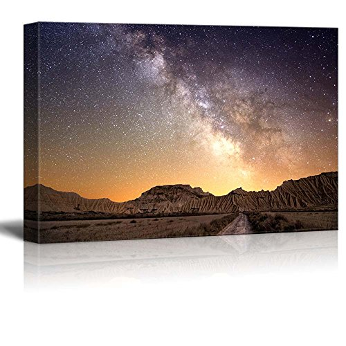 Beautiful Night View Milky Way Galaxy over the Desert of Bardenas Spain Wall Decor ation