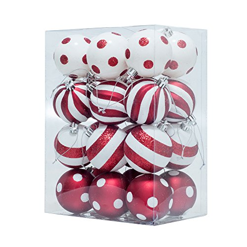 KI Store Christmas Balls Ornament Shatterproof Christmas Tree Onarments 24 pcs with Red and White Polka Dots Stripes Design, for Xmas Trees, Parties, and Holiday Decoration (2.36