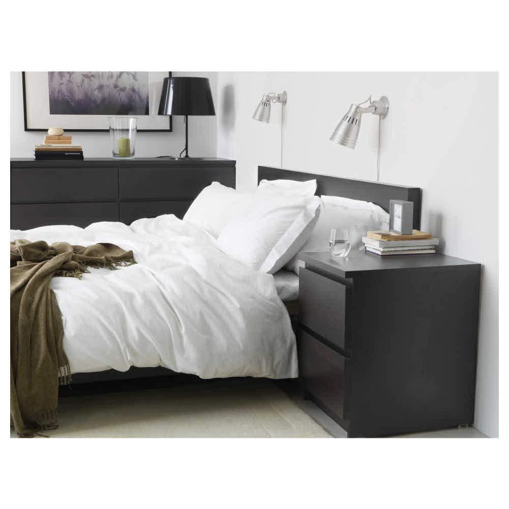 IKEA ASIA MALM - Cajonera (2 cajones), Color Negro y marrón ...