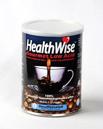 HealthWise 100% Colombian Supremo, Swiss Water Decaffeinated, Low Acid Ground Coffee, 12 ounce cans (Pack of 12) by HealthWise Coffee