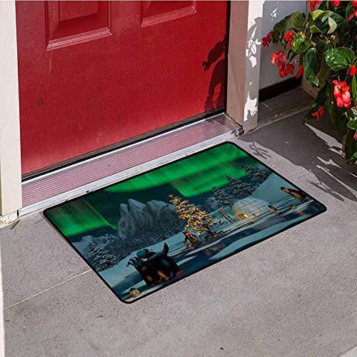 (Aurora Borealis Front Door mat Carpet Penguins on Frozen Lake with Christmas Tree Noel Arctic Circle Design Machine Washable Door mat W35.4 x L47.2 Inch Lime Green Grey)