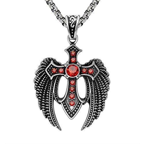 GSG Red Eagle Dapeng Wings Titanium Necklace Zircon Cross Pendant (pendant - Double Pendant Cross