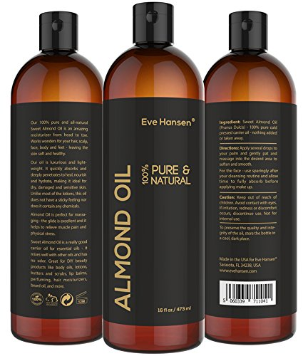 16oz SWEET ALMOND OIL - 100% Pure & Natural Moisturizer from Head to Toe & Best Carrier Oil - SEE RESULTS OR MONEY-BACK - Works wonders for your hair, scalp, face, body and feet. Perfect for massage. (Sweet Baby Conditioner compare prices)