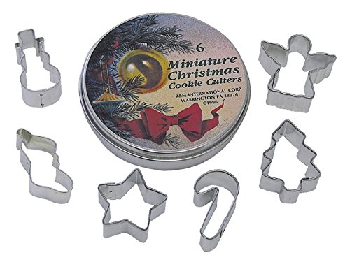 R&M International 1995 Mini Christmas Cookie Cutters, Snowman, Stocking, Star, Candy Cane, Tree, Angel, 6-Piece Set