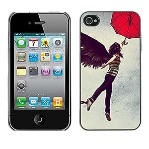 Smartphone duro PC Carcasa Funda protectora para iphone 4/4S/Phone Case TECELL Store/Abstract Flying Girl Umbrella