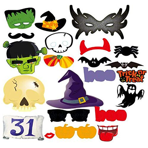 YuBoBo Trick Or Treat Halloween Photo Booth Props Kit – 22 Count Halloween Decorations]()