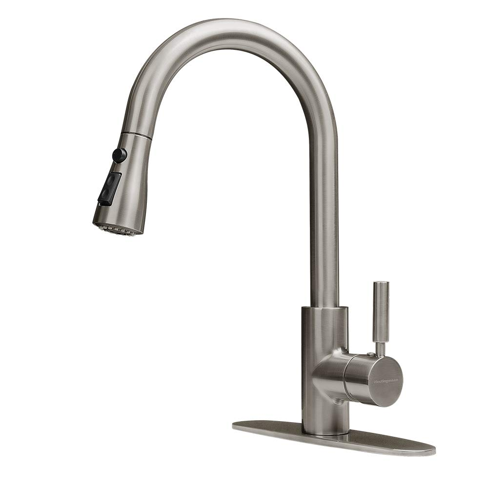 Houtingmaan Brushed Nickel Single Handle Kitchen Faucets with Pull Down Sprayer, High Arc Pull Out Kitchen Sink Faucet with Deck Plate, 3 Functions, cUPC/NSF Certified